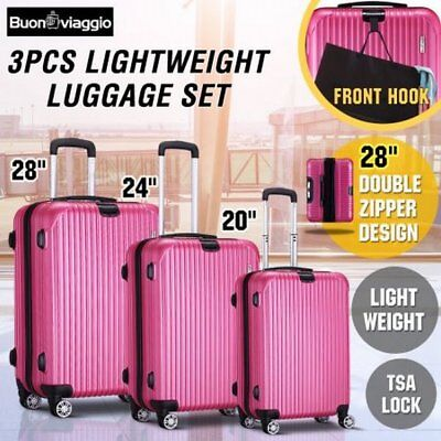 NEW 3 Pieces Expandable Luggage Hard-shell Suitcase Set Rose Red with TSA Lock