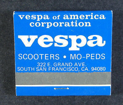 Vespa Scooters Mopeds of America South San Francisco Matchbook matches