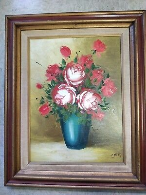 "Vintage Original Oil Rose Painting,18""x21.5"",Collector"