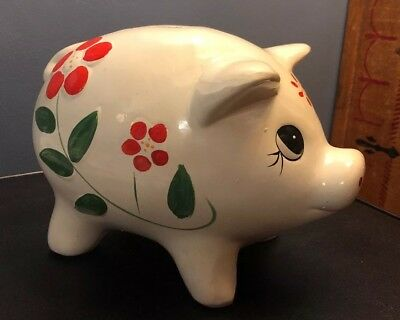 "Large Vintage Pottery Ceramic White Piggy Hand Painted Flowers 10"" Long Pig"