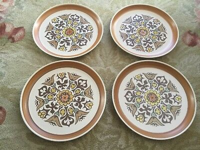 4 x Langley / Denby dinner plates, 70s retro Canterbury pattern