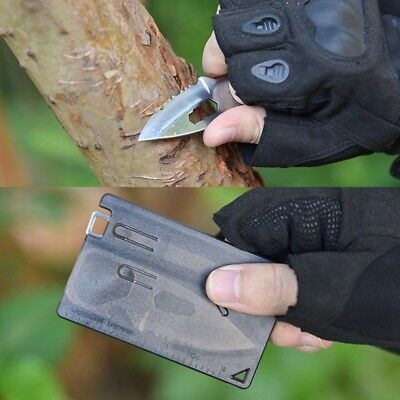 1/2SET Multi-function Portable Pocket Card Knife & Fork Wallet  Survival Tools