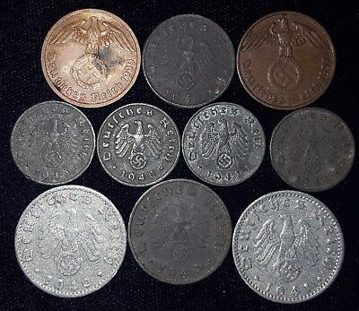10 Coins from Nazi Germany.  1937-1943.  No Reserve!!