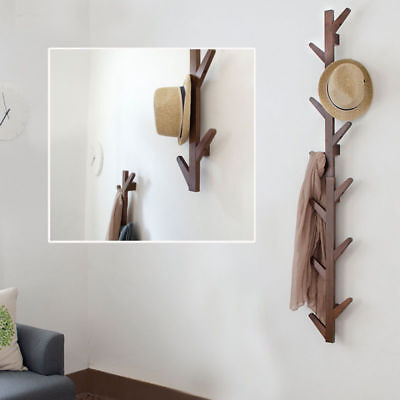 Bamboo Wall Hanger Hat Rack Coat 6 Hook Tree Branch Shape Home Bedroom Decor