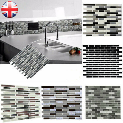 4PCS Home Bathroom Kitchen Brick 3D Wall Decor Stickers Wallpaper Tile Art UK