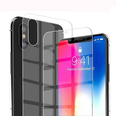 9H Front+Back Tempered Glass Film Screen Protector for Apple iPhone XS Max XR X