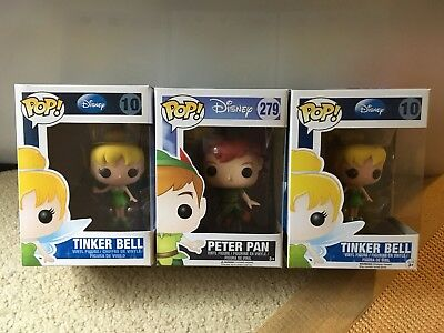 3 Disney Funko Bundle 1 PETER PAN POP Vinyl FLYING And 2 Tinker Bell