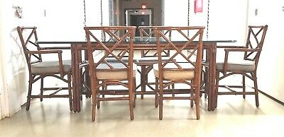 Mid Century Modern Bamboo Chinese Chippendale Dining Room set Table 6 Chairs WOW