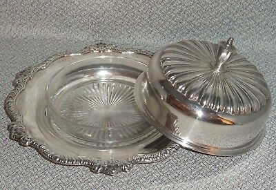 Silverplate round Butter Dish with lid, glass dish - Wallace Avalon Silverplate