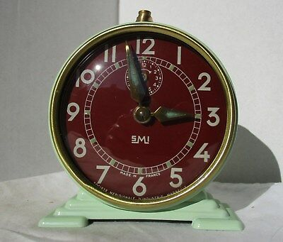 Beautiful Almost As New Green and Maroon Alarm Clock from SMI