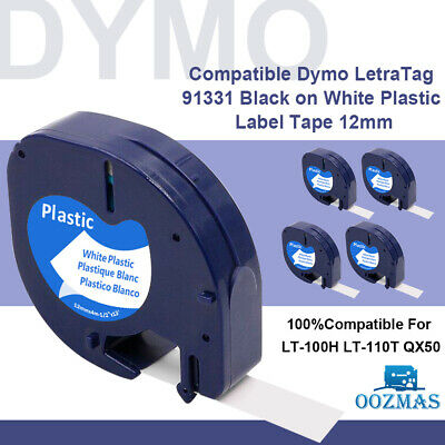 91201 White Plastic Label Tape Cartridge 12mm x 4m Compatible with DYMO LETRATAG