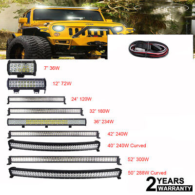 "7"" 24"" 36"" 42"" 52"" LED Work Light Bar 12V 24V Flood Spot Combo Offroad+ Wiring"