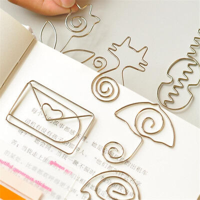 5pcs Stationery Metal Paper Clips Memo Clip School Office Supplies Bookmark