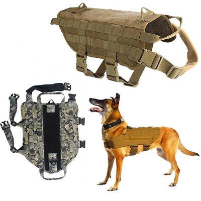 Pet Dog Trainning Harness Tactical Military Police Jacket Molle Safety Vest S-XL