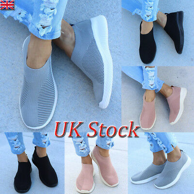 UK Womens Casual Sock Mesh Shoes Trainers Flat Slip On Comfy Pumps Sneakers Size