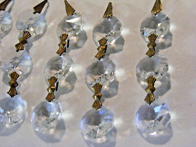 "Vintage Lot of 20 Chandelier Faceted Crystal Prism Brass Strands each 3"" long"