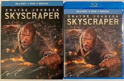 Skyscraper Blu Ray Dvd 2 Disc Set + Slipcover Sleeve Dwyane Johnson Free Shiping