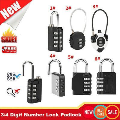 Mini 3/4 Digit Number Combination Luggage Suitcase Security Cable Lock Padlock