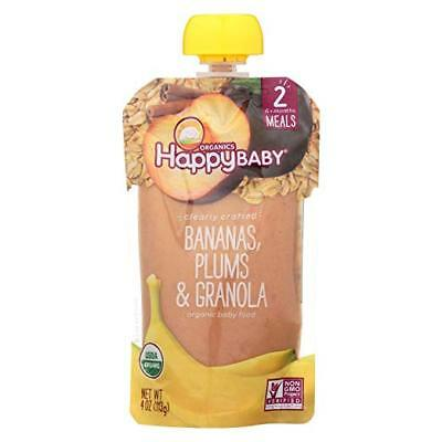 Happy Baby Clearly Crafted Stage 2 Baby Food Bananas Plums & Granola, 4 Ounce
