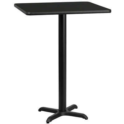24'' Square Black Laminate Table Top with 22'' x 22'' Bar Height Table Base -...