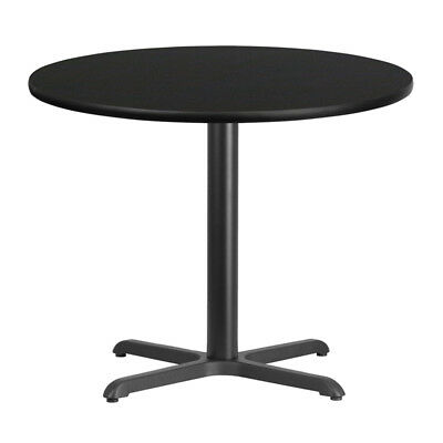36'' Round Black Laminate Table Top with 30'' x 30'' Table Height Base - XU-R...