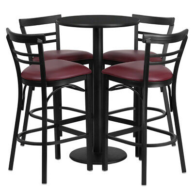 24'' Round Laminate Table Set with 4 Ladder Back Metal Barstools - Vinyl Seat