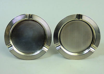 A Pair Of Antique George Vi Slver Mappin & Webb Ashtrays Birmingham 1937 - 65 G