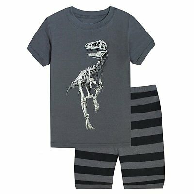 2pcs Baby Boy T-shirt Tops+Striped Pants Outfit Toddler Kids Summer Clothes Set