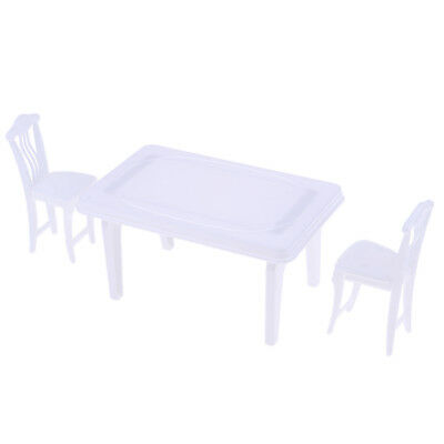Detachable Dinner Table & Chair Set Furniture For Barbie Dolls House white