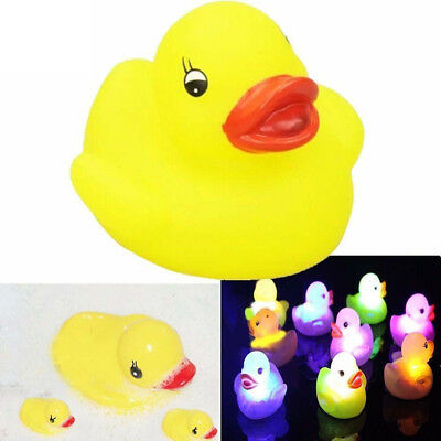 4X Squeaky Duck Flashing LED Colorful Light Up Bath Floating Toy Kid Baby Kids