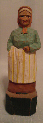 Vintage Hand Carved Painted Wood Folk Woman with Scarf Figurine