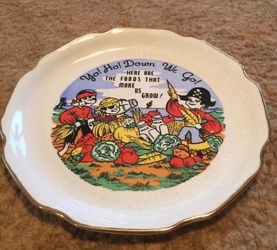 """Child's Vintage Dinner Plate, Pirates Motif, from 1950's, 9"""""""