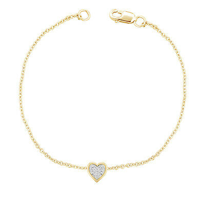 """1/10 Ct Pave Natural Diamond Heart 7"""" Chain Bracelet Solid 10k Yellow Gold Women"""