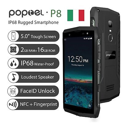Poptel P8 4G Cellulare Impermeabile Face ID Android 8.1 Smartphone 2GB 16GB NFC