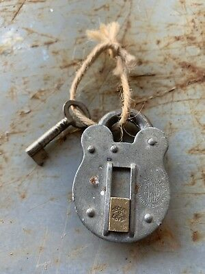 "⭐️🗝 Old Vintage Antique ""SECURE 2 LEVER"" Safe Padlock Industrial With Key 🗝⭐️"