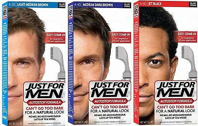 3 x Just for Men Autostop Easy Comb In Men's Hair Dye Colourant Auto Stop