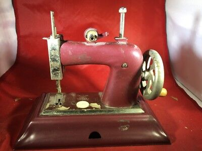 Vintage Child's Sewing Machine Made in Germany British Zone. Casige Maroon