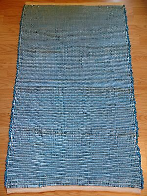 Hand Loom Woven, Turquoise Blue, Rag Rug Runner w/Vintage Polyester Fabric