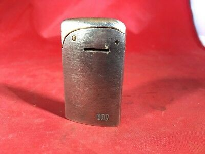 Vintage James Bond 007 Butane Evans Gun Metal w/ Gold Plate Lighter Sean Connery