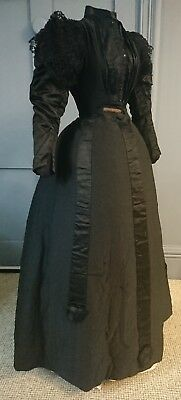 Gothic 1890s Teenage Girl's Silk Mourning Dress - Victorian Antique Fashion