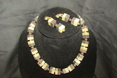 Vintage Two tone stone necklace and clip on earrings