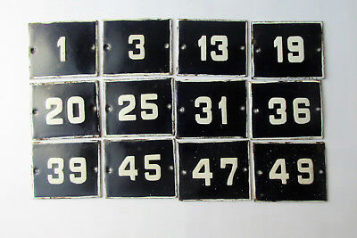 OLD ENAMEL PORCELAIN TIN SIGN PLATE NUMBERS Cobalt Blue 19,20,25,31,36 and other
