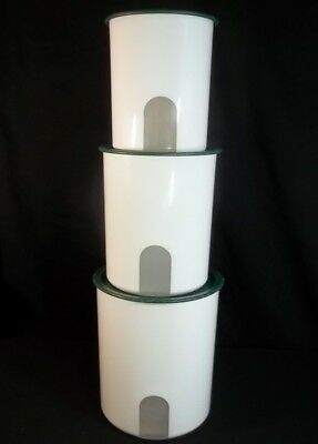 Tupperware One Touch Canisters White Green Lids Set of 3 Reminder 2416 2418 2420