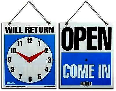 """BAZIC 7.5"""" X 9"""" """"WILL RETURN"""" Clock Sign w/ """"OPEN"""" sign on back Case Pack 24"""