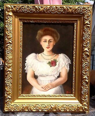 VERY CHARMING RARE 1900s AMERICAN PORTRAIT OF YOUNG LADY AMAZING OIL PAINTING
