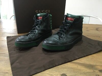 4f197c677 GUCCI HIGH TOPS Black And Green Snake Skin Uk 8 With Box - $195.14 ...