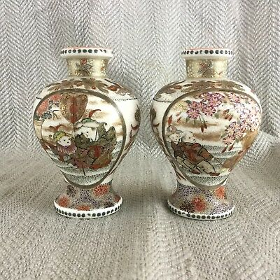 Antique Japanese Pair of Vases Meiji Satsuma Miniature 19th Century