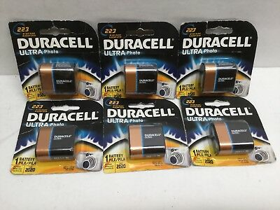 Duracell Ultra Lithium 223 Battery 6V DL223 EL223AP/CR-P2 (Lot of 6) EXP 2020+