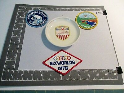 """BSA LOT 4-70s-PATCHES-6 WORLD-DERBY-TRG &""""SCOUTACULAR"""" PLATE-HOAC-KC, KS/MO"""