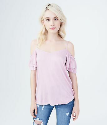 aeropostale womens solid textured cold-shoulder top